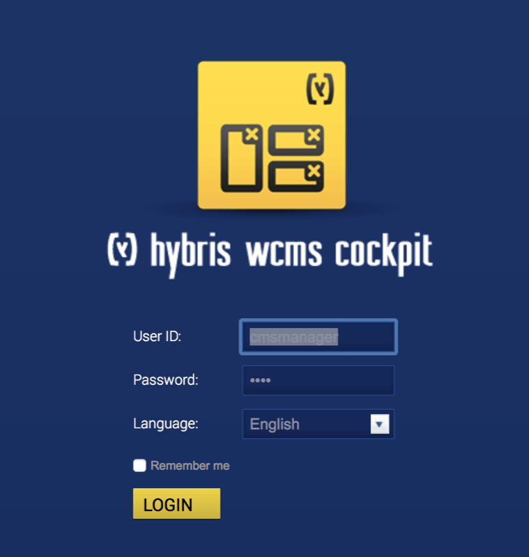 Hybris cms cockpit login